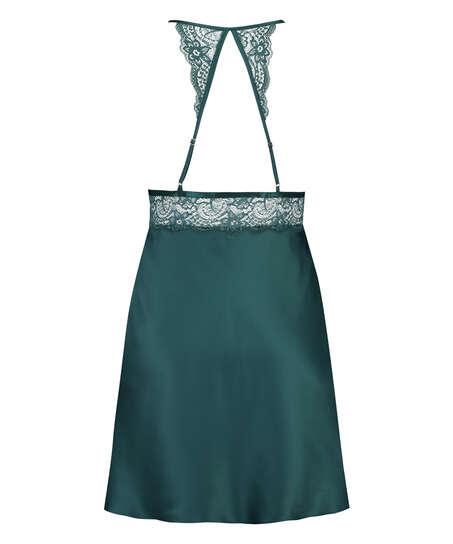 Underklänning i satin och spets, blå