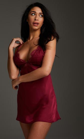 Satin Holly underklänning, röd