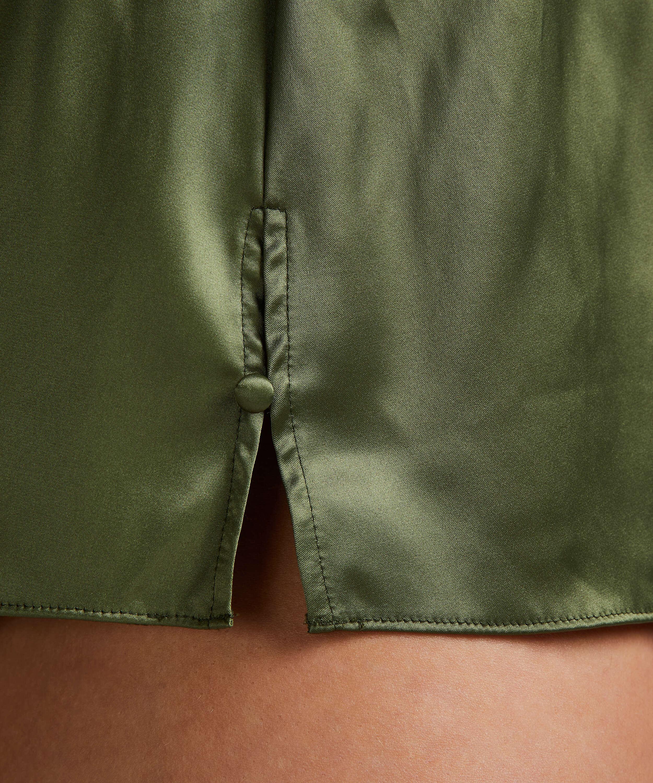 Amelia Tap Satin Shorts, grön, main