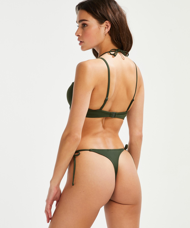 Luxe formpressad bikiniöverdel med bygel, grön, main