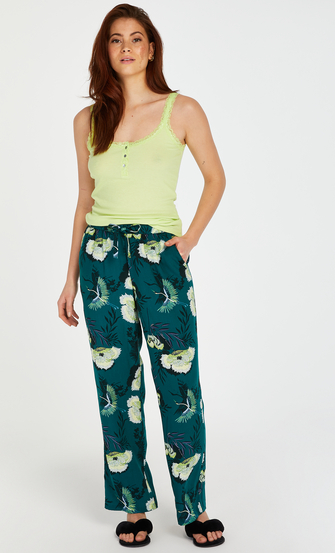 Tall Lotus Bird stickade pyjamasbyxor, Grå