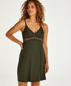 Vera underklänning i jersey och spets, grön