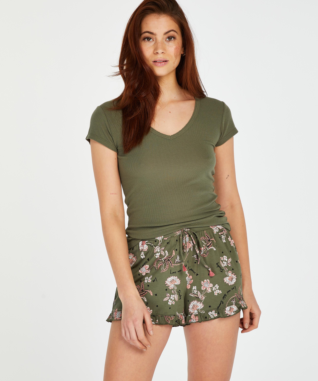 Pyjamasshorts Jersey, grön, main