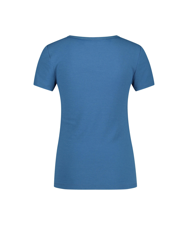 Kortärmad pyjamastopp Rib Crew Neck, blå, main
