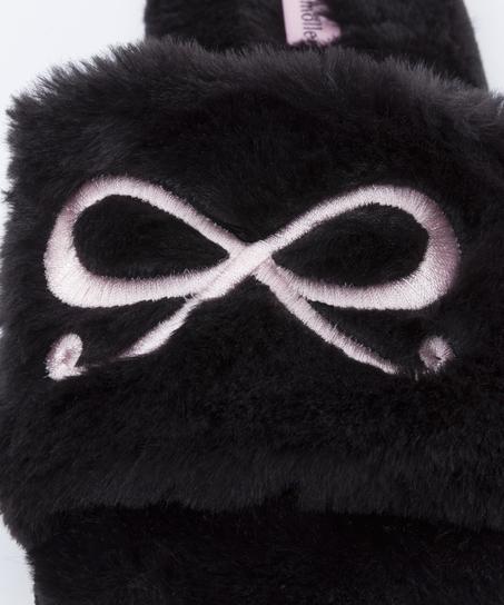 Tofflor Bow Fake Fur Top, Svart