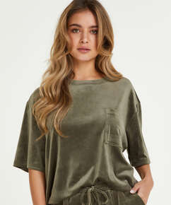 Top Velours Pocket, grön