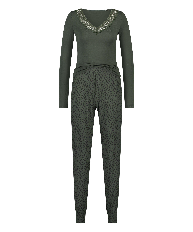Leopardprickigt pyjamasset med spets, grön, main