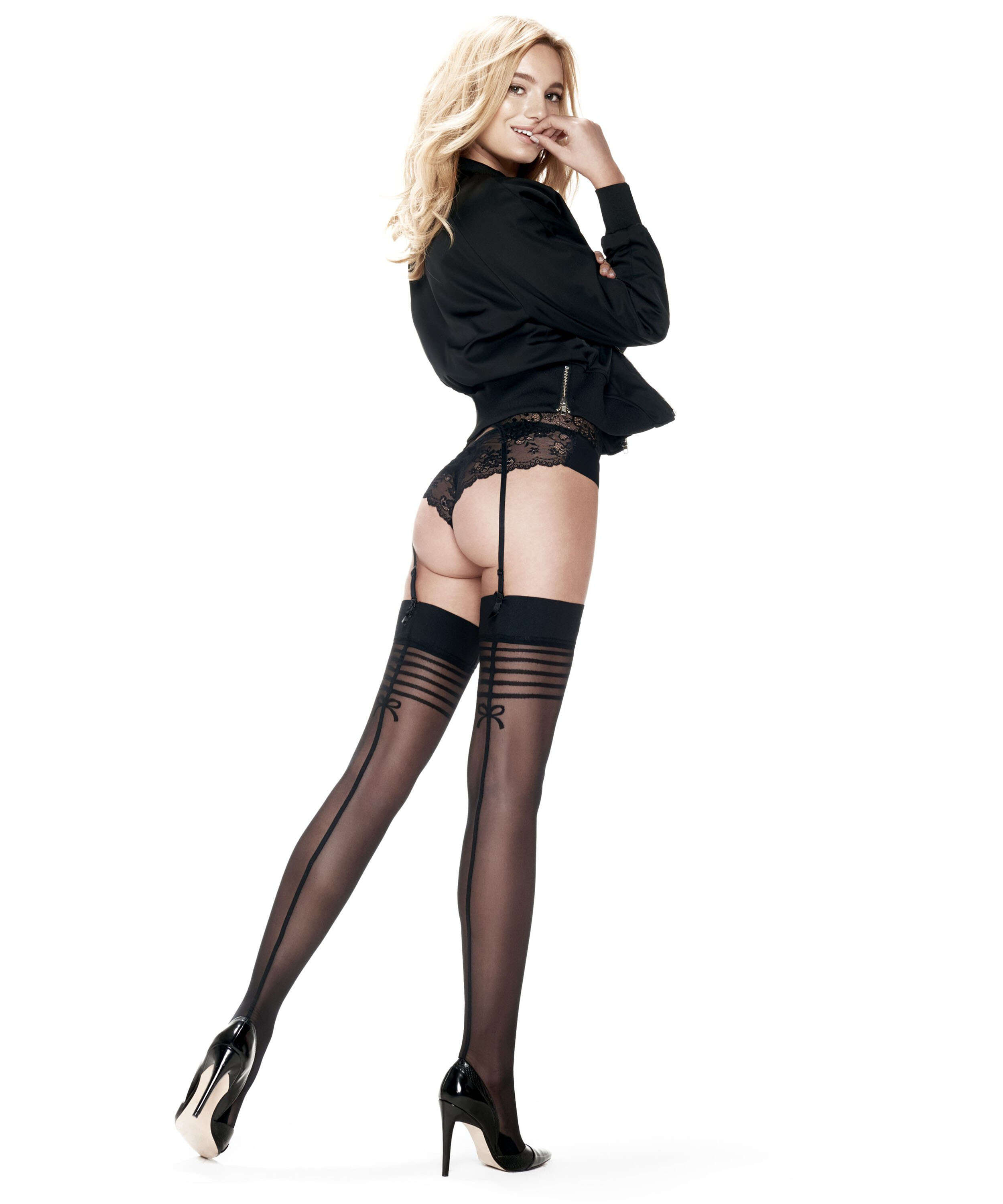 Stockings 30 denier Delicate Lines, Svart, main