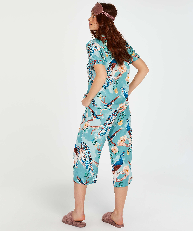 Pyjamasbyxor med påfågelmönster, blå, main