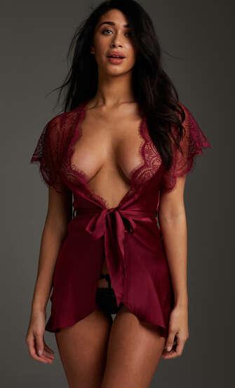 Kimono Cap Sleeve, röd