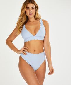 Högt skuren bikiniunderdel Scallop, blå