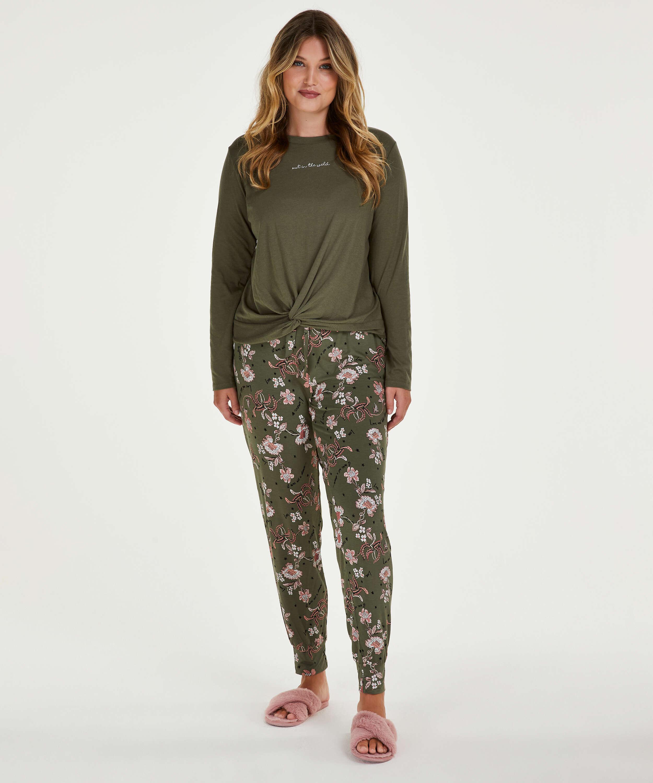 Jersey pyjamasbyxor, grön, main