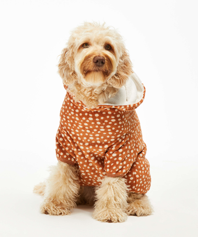 Onsie i fleece för hundar, Brun, main