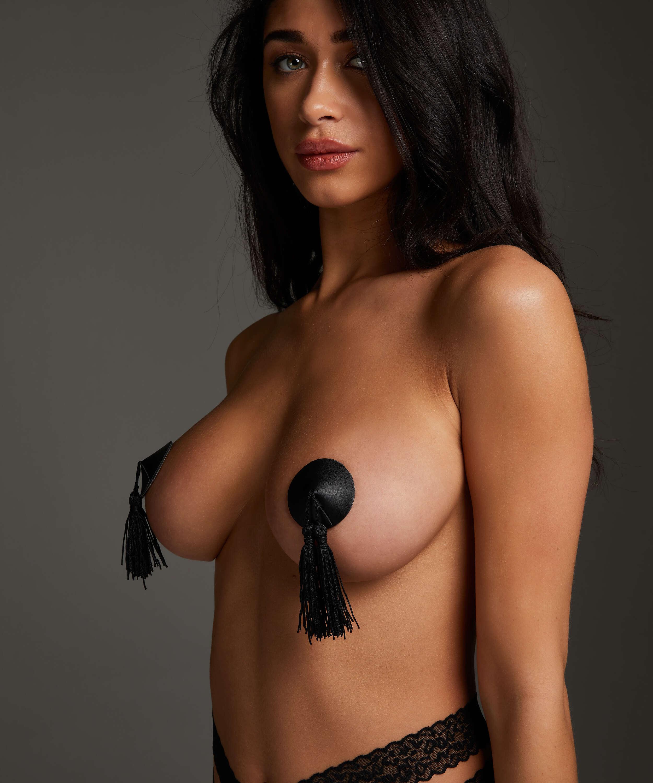 Tassel private nipple cover, Svart, main