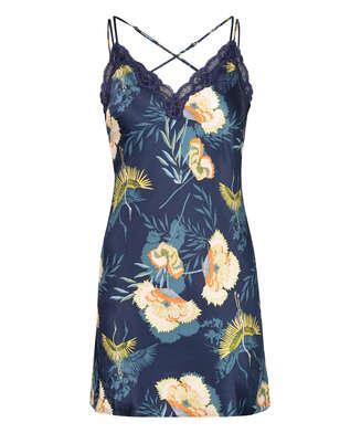 Underklänning med tropisk vadarfågel, blå