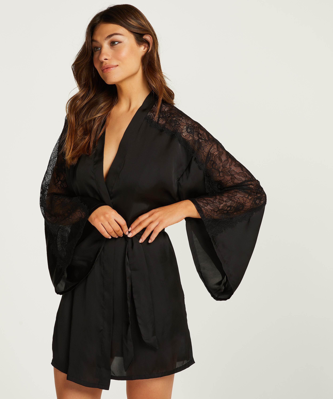 Kimono Lace i satin, Svart, main