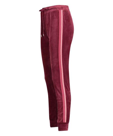 Joggingbyxor Velour Stripe, röd