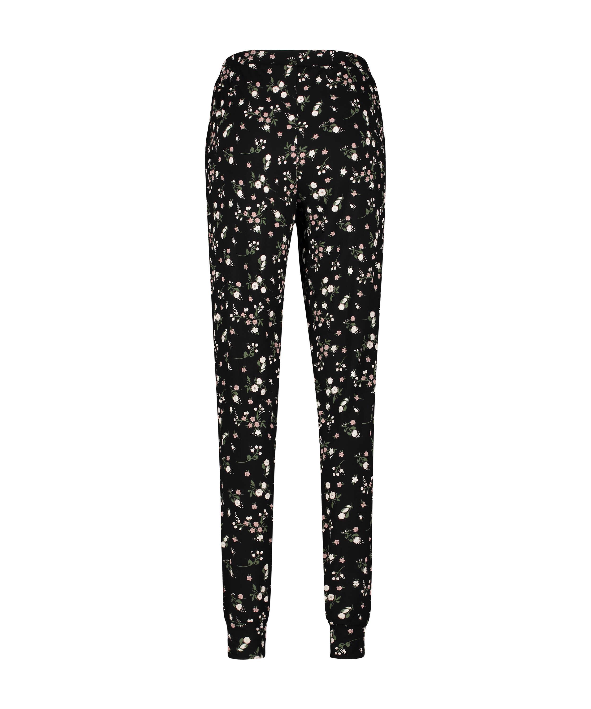 Tall Ditzy blommönstrade pyjamasbyxor, Svart, main