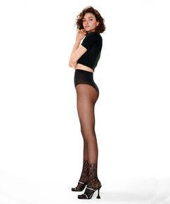 Lace sock tights, Svart