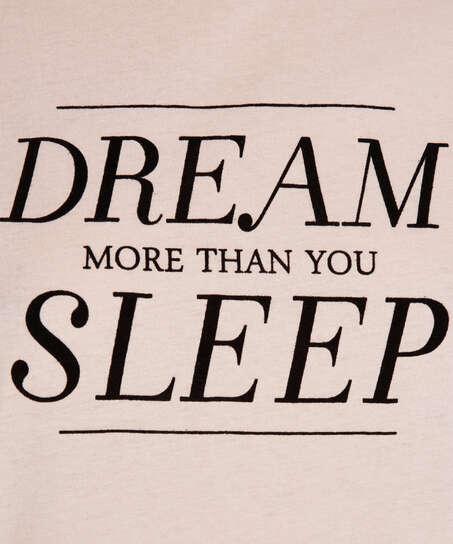 Kortärmat nattlinne med Dream-motiv, Rosa