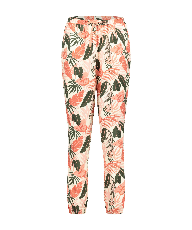 Stickade pyjamasbyxor, Beige, main