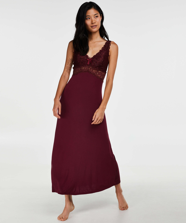 Lång underklänning Modal Lace, röd, main