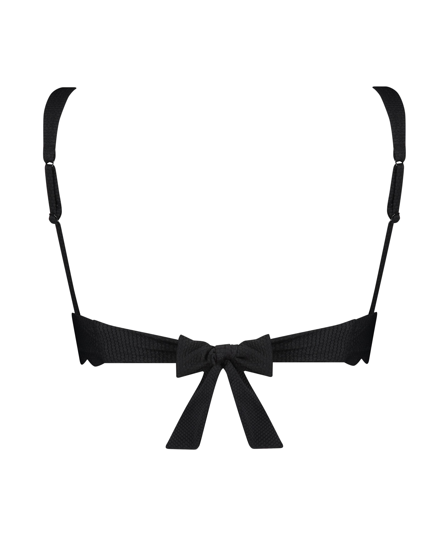 Scallop triangel-bikiniöverdel, Svart, main