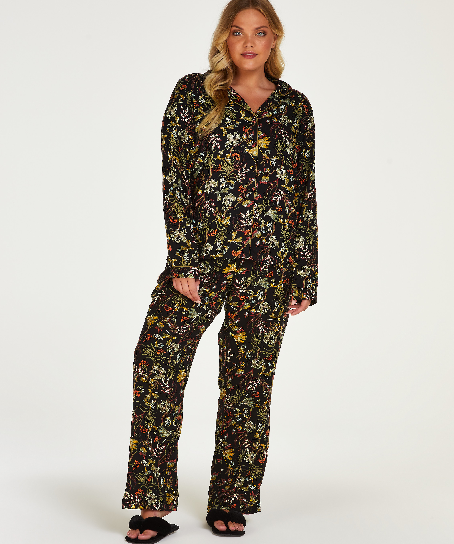 Stickade pyjamasbyxor, Svart, main