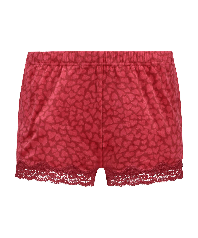 Shorts i sammet och spets, röd, main