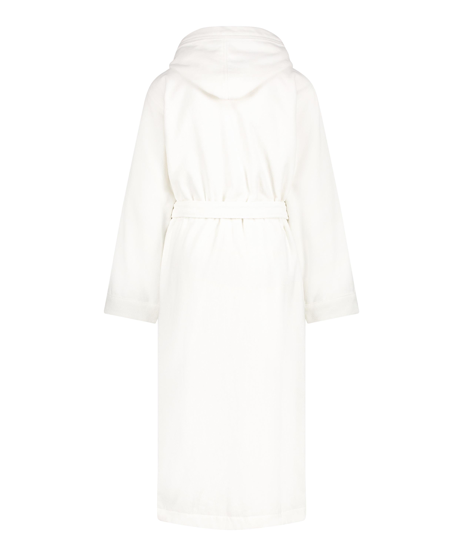 Lång badrock i fleece, Vit, main