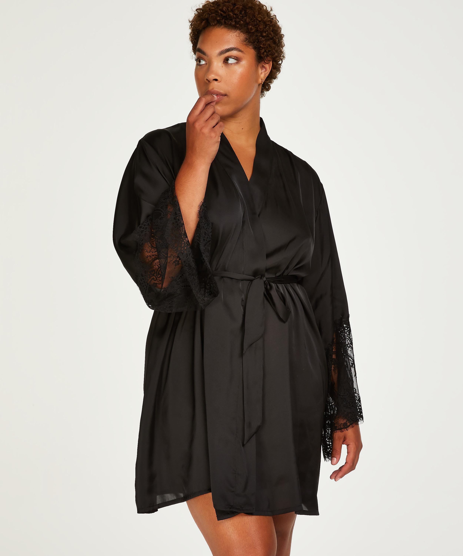 Kimono Lace Satin, Svart, main