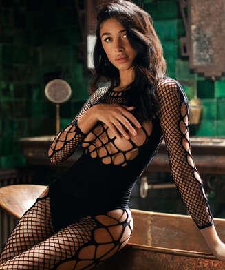 Private Chastity catsuit i fisknät  , Svart