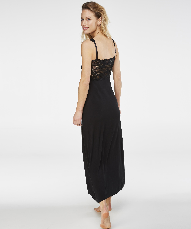 Lång underklänning Modal Lace, Svart, main