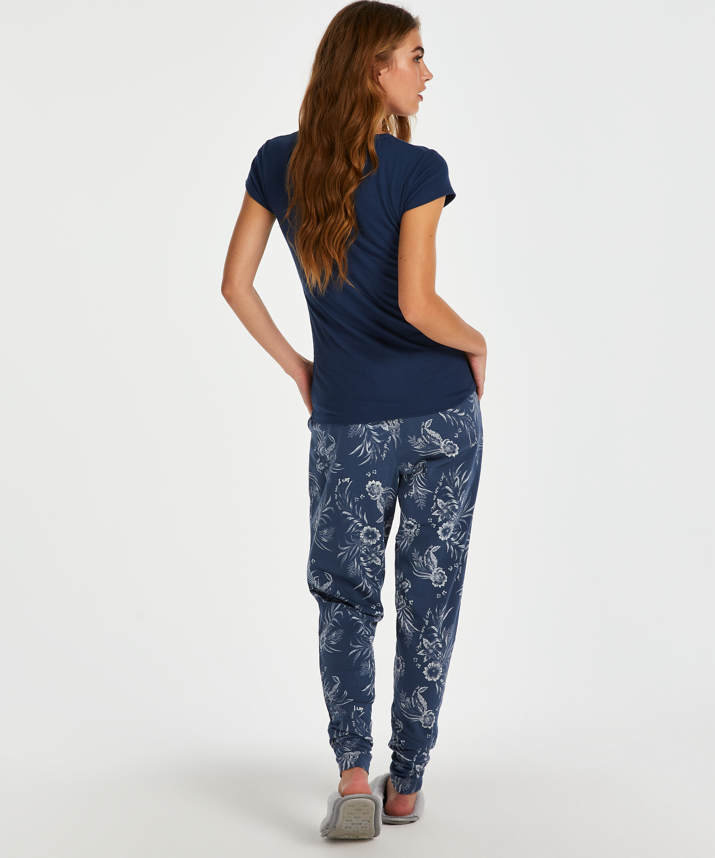Kortärmad pyjamaströja i ribbtyg., blå, main