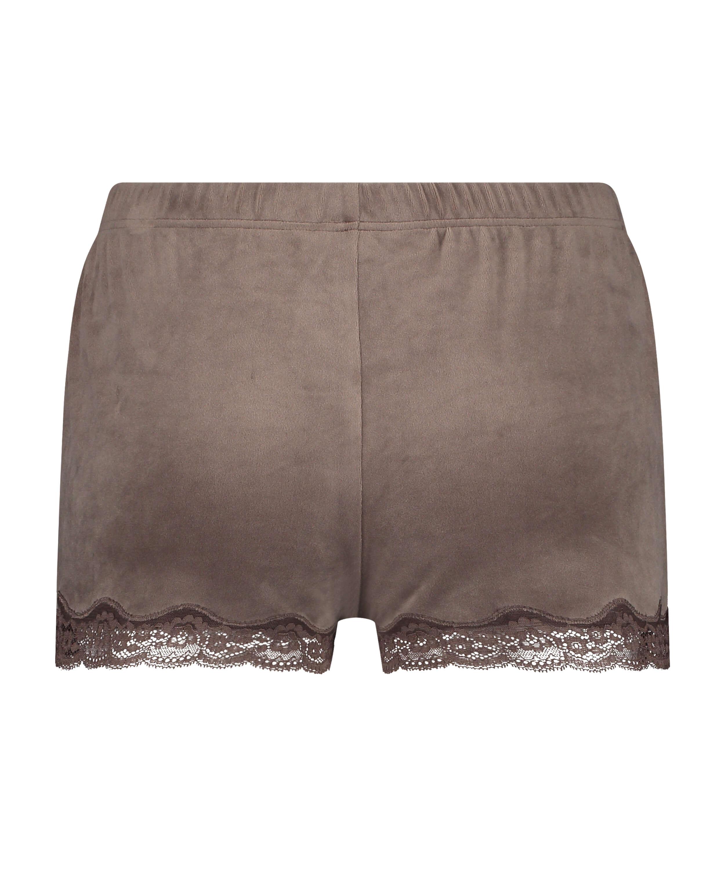 Shorts i sammet och spets, Brun, main