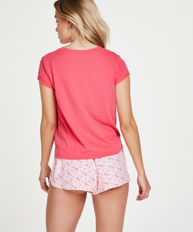 Kortärmad Jersey Knot pyjamastop., röd, main