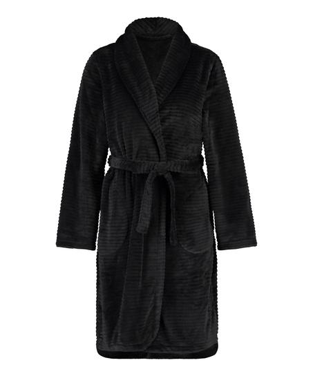 Ribbad badrock av fleece kort, Svart