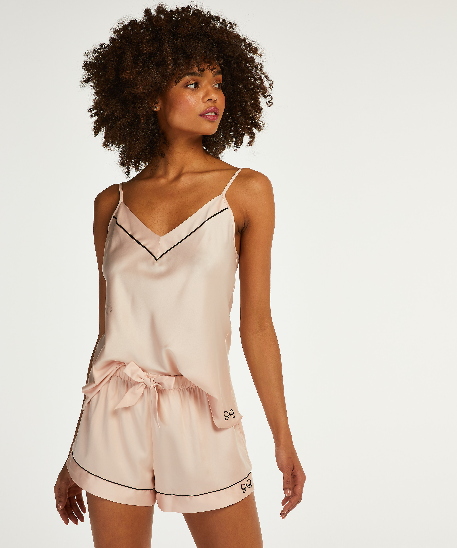 Pyjamas short satin lace, Rosa, main