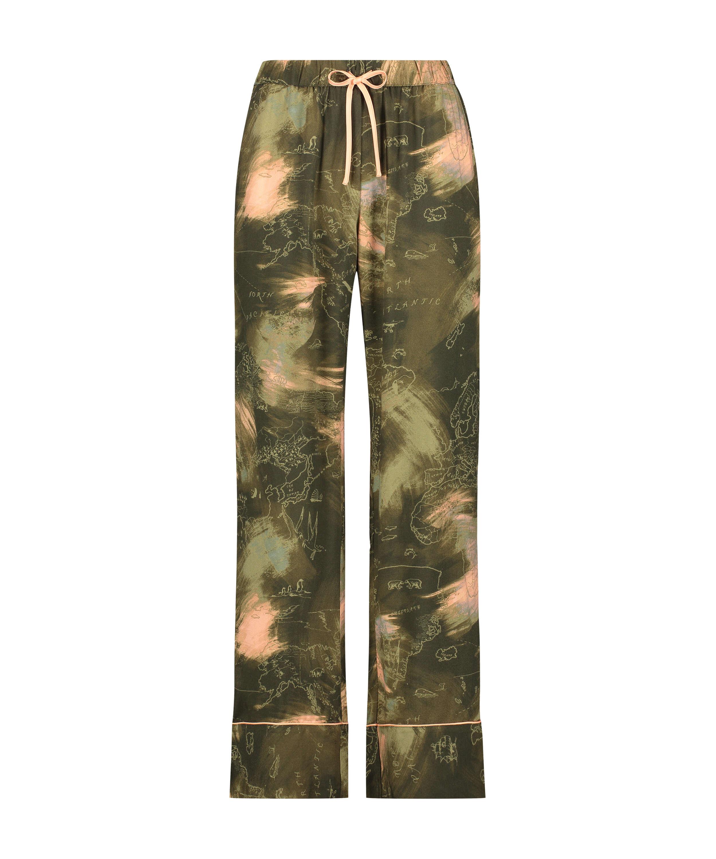 Stickade pyjamasbyxor, grön, main