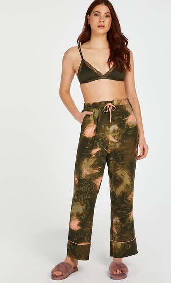 Stickade pyjamasbyxor, grön