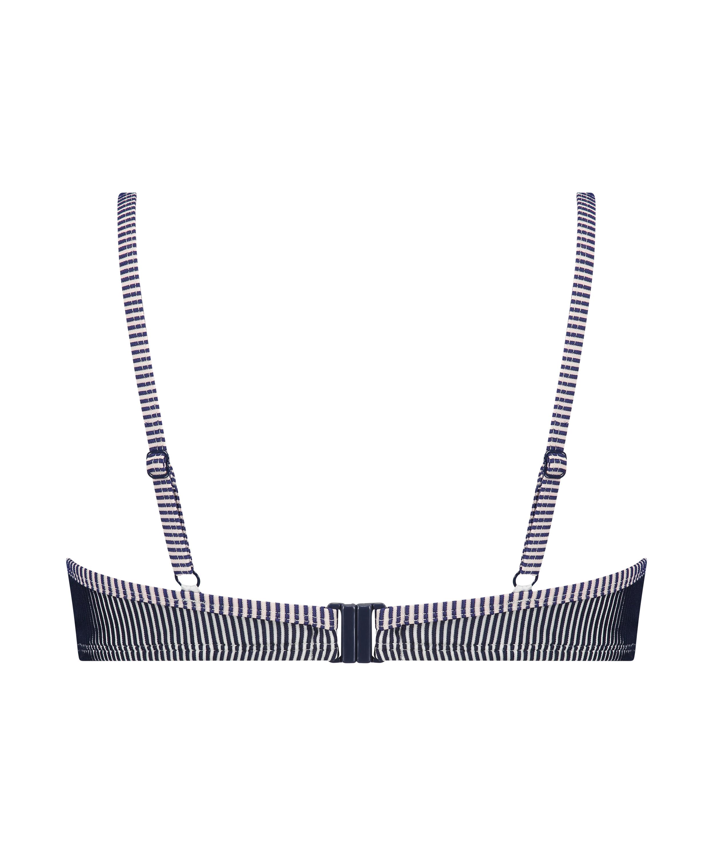 Ruffle Strip formpressad bikiniöverdel med bygel, blå, main