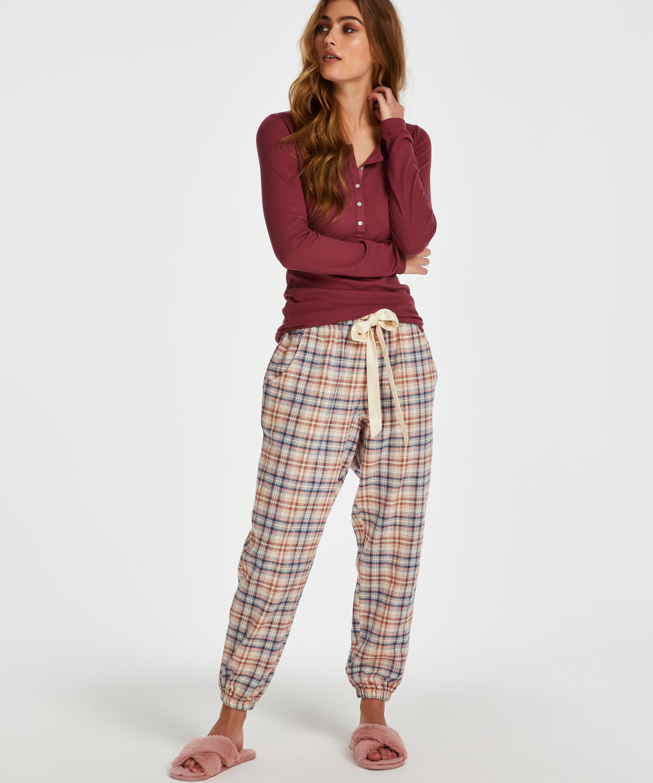 Pyjamastopp med långa ärmar, röd, main