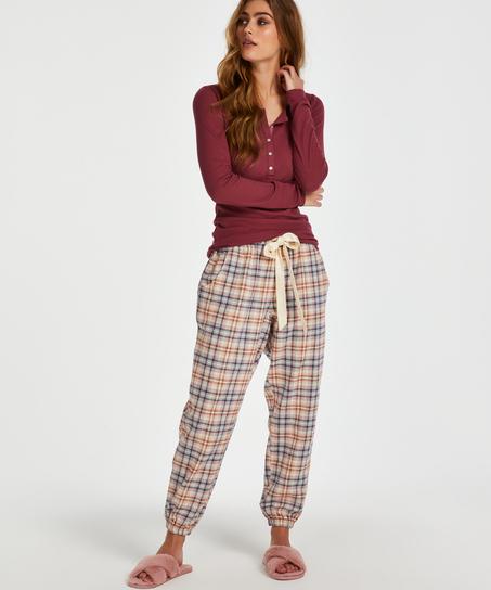 Pyjamastopp med långa ärmar, röd