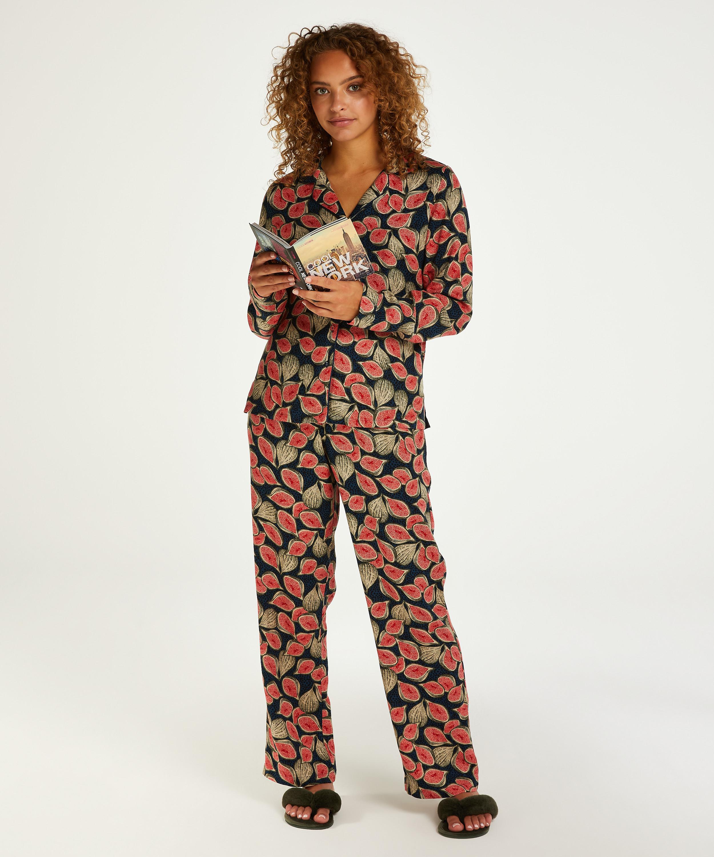 Stickade pyjamasbyxor, blå, main