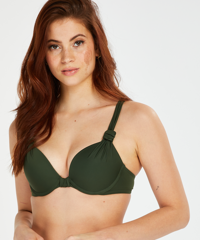 Luxe push-up bikini-överdel Storlek A - E, grön, main
