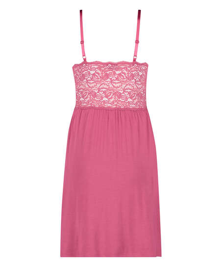 Vera underklänning i jersey och spets, Rosa