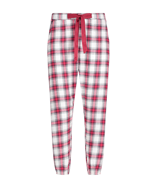 Rutiga pyjamasbyxor twill, röd, main