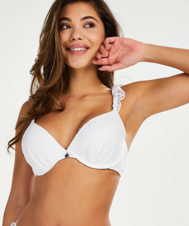 Bikini push-up Top Crochet, Vit, main