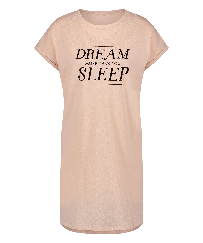 Kortärmat nattlinne med Dream-motiv, Rosa, main