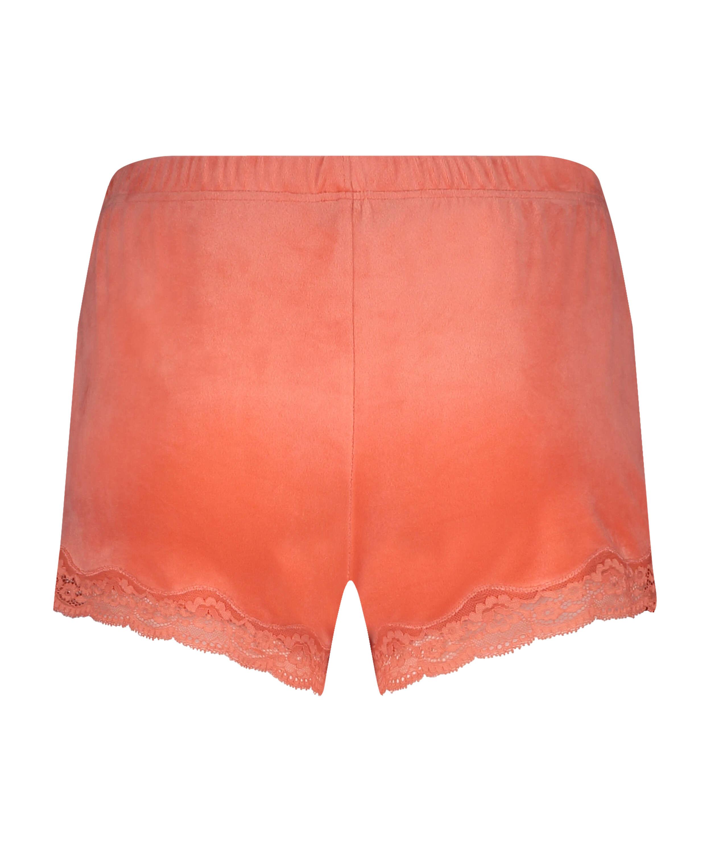Shorts i sammet och spets, Orange, main